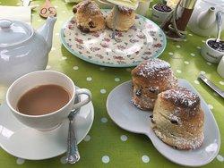Cream teas with wort jam. Pannini & top banana milkshakes