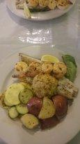 Shrimp, fish, crab cake, veggies -- all done to perfection.