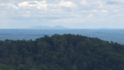 Off in the distance is Pilot Mountain from the ranger station at Rendezvous State Forest