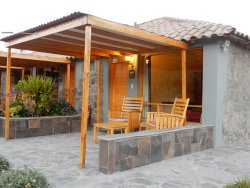 Our bungalow with outdoor sitting area