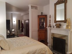 The Charlot Suite with gas fireplace.