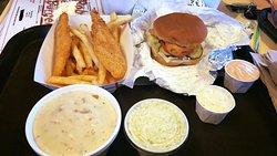 chicken strip with fries,clam chowder ,coleslaw & fish burger