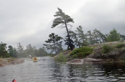 Rainy day paddling in the Old Voyageur Route of the French River