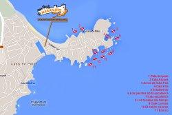 Mapa de inmersiones en las preciosísimas calas de Cabo de Palos