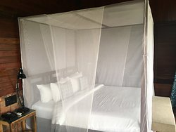 the four poster bed facing the large french windows