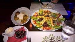 Dolmades and an impressive salad.