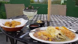 Good pork Chile Verde burrito, margarita
