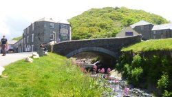 The bridge and pub in the background were both badly damaged in the Boscastle 2004 flood.