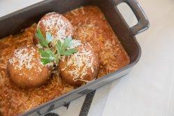 Arancini, fried risotto balls stuffed with taleggio cheese & salsa di pomodoro