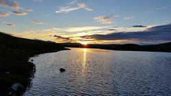 Sunset over Loch Meadie, one of the nearby fishing lochs.