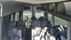 Our Mercedes Benz Sprinters. Lots of room and overhead storage