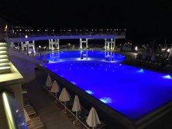 The main pool at night.