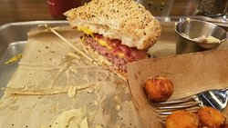 drive in burger with bacon, sweet potato tots