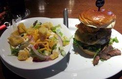 Big Sky burger with a side salad