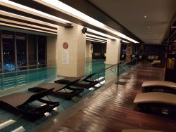 Night pool with nobody swimming