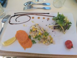 Ceviché de dorade à la mangue, coriandre et patate douce