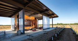 The open walls of our tasting room let you enjoy tasting in the vineyards.