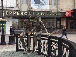 Love statue on main pedestrian street.