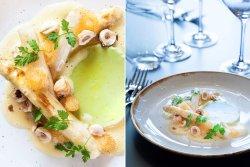 Grønn og hvit asparges med Løyrom Beurre blanc og valnøtter.