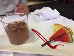 mouse au chocolat with candied peanuts.