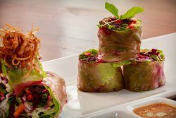 Pink summer rolls veg and non-veg options available