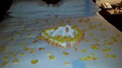 It was our anniversary ... this heart was made with towels and washcloths ... and rose petals.