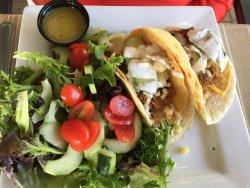 Pork tacos with salad