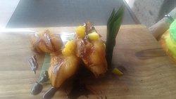 Battered banana's, mango, chocolate sauce...YUM