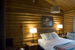 The blufftop cabin was cozy and had great views of the often foggy beach and coast.