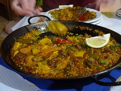 Meat Paella for Two served at the table