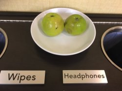no cleaning wipes or headphones for the fitness center, just old bruised apples