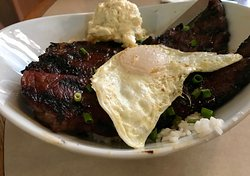 Kalbi with Egg, Rice and Mac --- excellent flavor!
