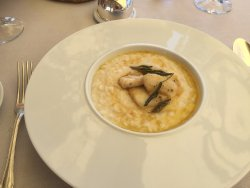 Risotto milanese with fillets of perch