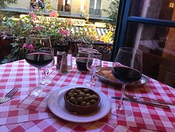 Wine and olives and bread