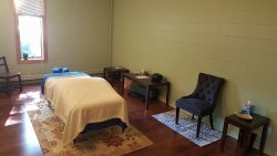 The massage room is ready for fall weather with a heated table and a space heater just in case!