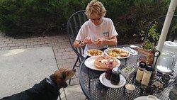 Dog friendly outdoor seating! Woo hoo!
