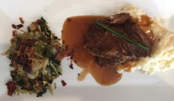sauteed cabbage, braised short ribs