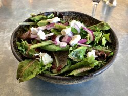 Goat cheese Hill Country Green Salad.