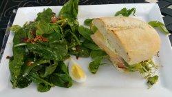spinach salad and turkey/havarti