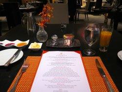 Campton Place - Breakfast Menu & table setting