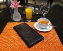 Campton Place - Breakfast table setting and the bill