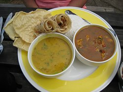 Curry Chicken, Dahl and Roti