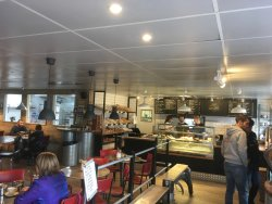 Inside view of Bread prep area and cafe counter