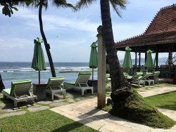 View from my patio (infinity pool and restaurant)