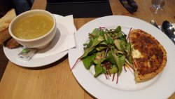 Soup of the day and Quiche Lorraine