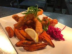 Tempura whiting with sweet potato fries