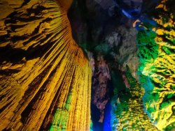 Colourful LED lights turns the caves vivid