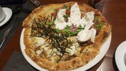 Teriyaki chicken + proscuitto ham with burrata cheese