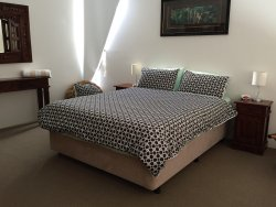 1st Bedroom upstairs, all apartments have 2 bedrooms with Queen beds
