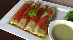 Our famous vegan papdzules, a mayan recipe made vegan.